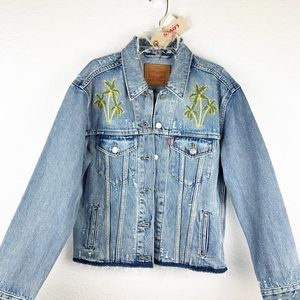 Levi Palm  embroidered Denim Jacket